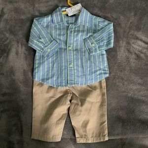 NWT 0-3 Month Boys Dressey Button Down Outfit